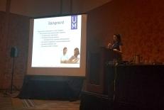 Rebecca Kamody presenting her symposium talk at SBM 2017