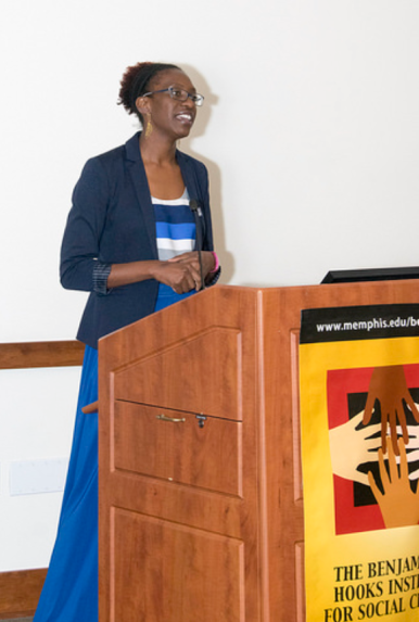 Dr. Idia Thurston speaking at the Hooks Institute