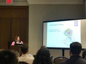 Kristina Decker giving her talk at SBM 2018